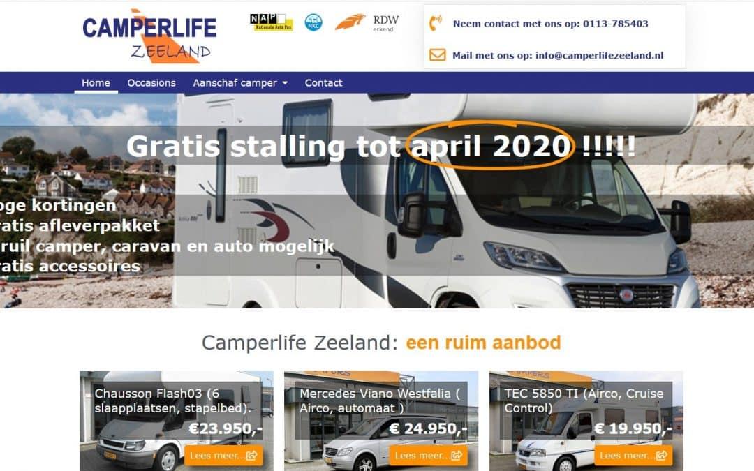 Realisatie website Camperlife Zeeland